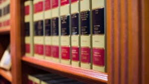 Personal injury law books used at Sticklen & Dreyer.