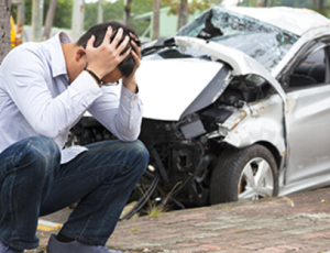 Man in distress from a personal injury car accident.