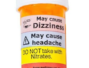 Premises liability prescription pill bottle with warning signs.